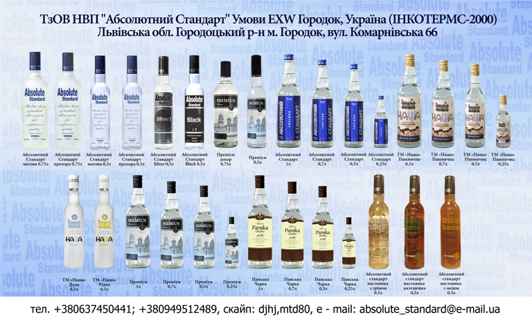 1c9f0dfa3da Предприятие «Абсолютный Стандарт» - производитель алкогольных напитков  (водок